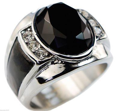 Knights Templar Cross 4 carat simulated Black Sapphire mens ring cz size 9