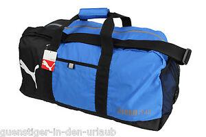 e896dcd11c596 Das Bild wird geladen PUMA-Foundation-Sporttasche-Tasche-Reisetasche- Fitnesstasche-blau-schwarz-