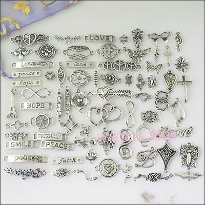 70 New Mixed Lots of Silver Tone Connecors Hope Heart Peace Cross etc.Charms