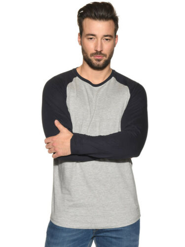 Mens Long Sleeve T Shirt Contrast Sleeves Baseball Summer Gym Top S M L XL XXL