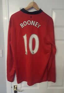 Manchester-United-Nike-Rooney-10-Football-Shirt-X-Large-Kit-2013-14-Long-Sleeve