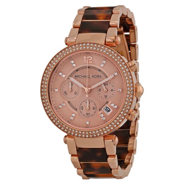 Michael Kors Ladies Parker Chrongraph Rose Plated Quartz Watch MK5538
