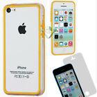 Pellicola+BUMPER giallo trasparente per iPhone 5C custodia cover display bordi