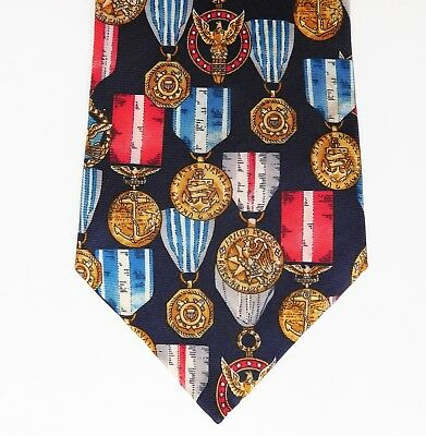 American military medal silk tie James Meade US armed forces army navy air force