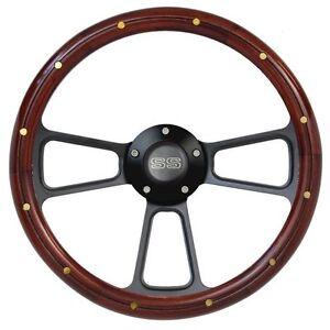 14-034-Mahogany-Black-Billet-Steering-Wheel-with-SS-Horn-for-El-Camino-Super-Sport