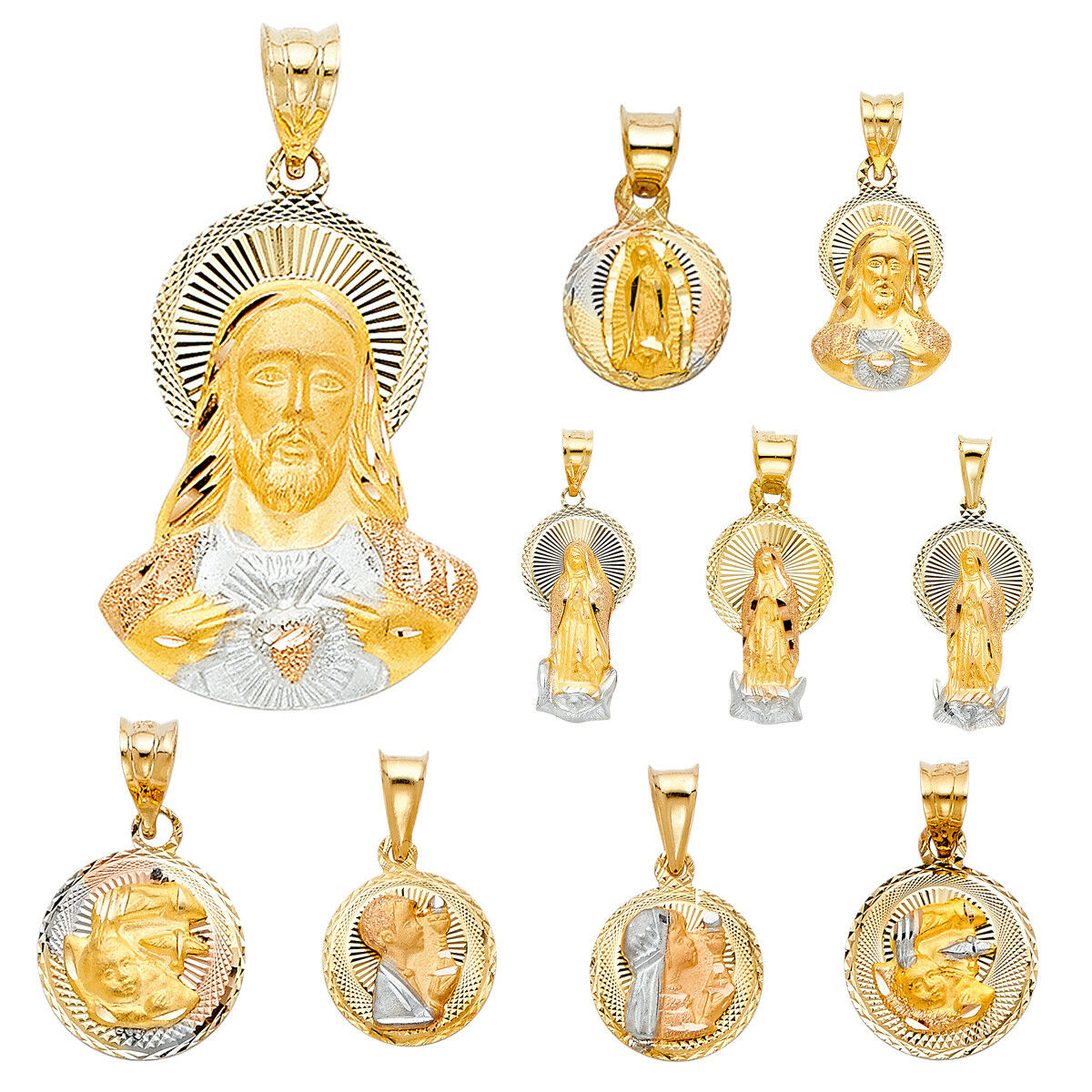 14K Tri color gold DC Stamp Communion Religious Pendant Collection