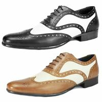 Red Tape Gatsby Black Tan White Leather Pointed Toe Brogue Spats Gangster Shoes