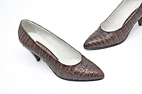 Maud Frizon Paris Vintage Marrone Scuro 100% Alligator Classico Pompe