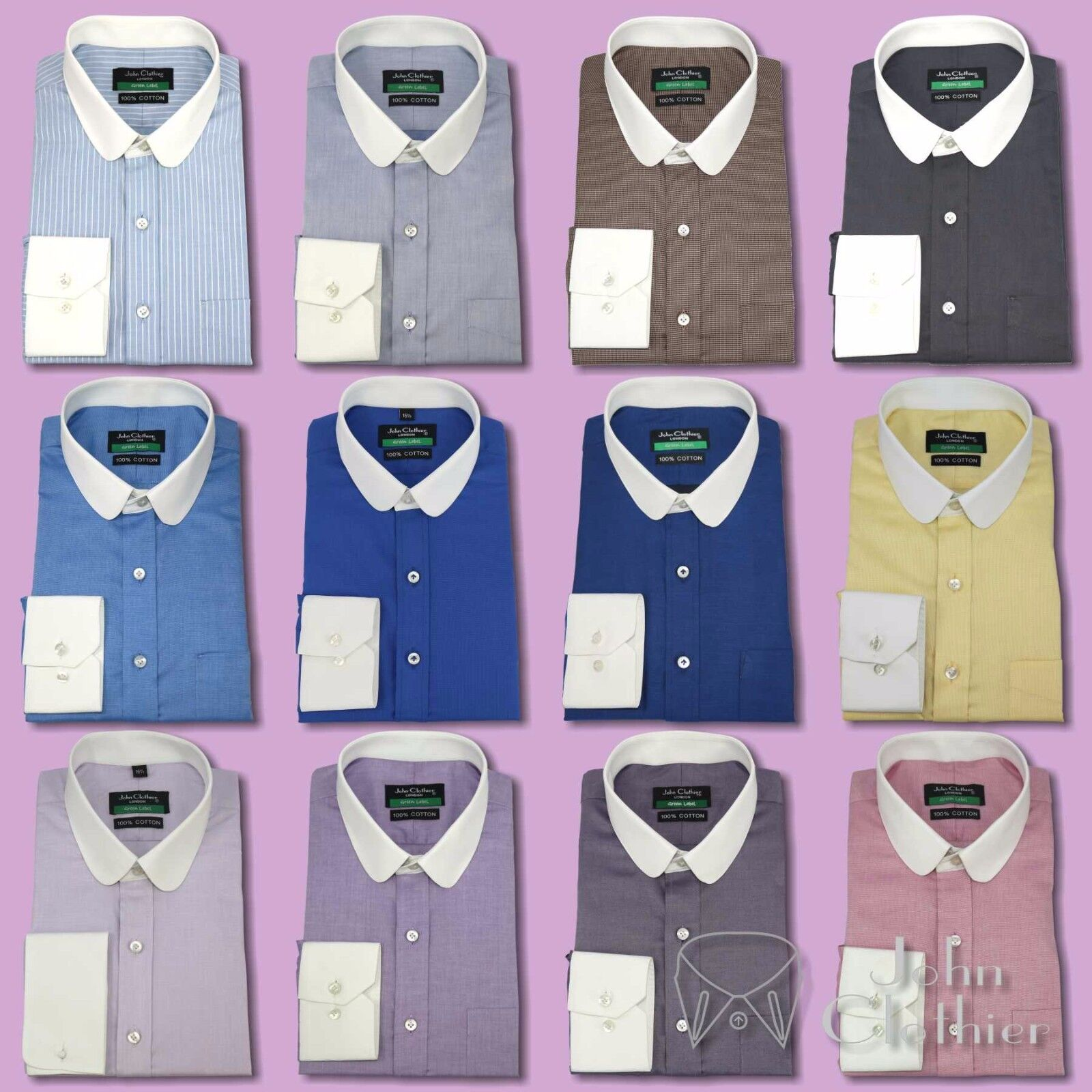 Penny collar shirt Banker style for Men Round Club collar shirt Soft Giza Cotton
