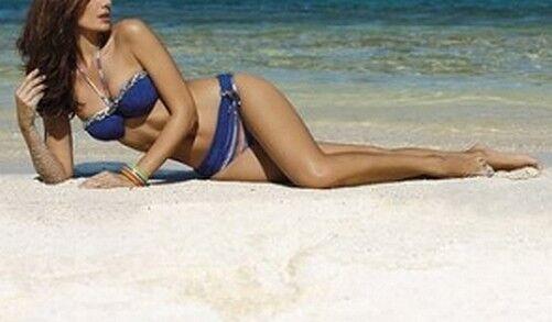 2tlg. Sunflair Bandeau Bikini Set Taille 40 Cup-b Nouveau Bleu Coloré Femmes Combinaison