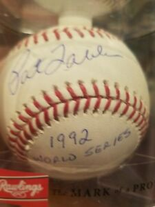 pat tabler signed baseball autographed ball auto romlb 1992 world series 92 ws