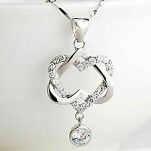 0-50Ct-Diamond-14K-White-Gold-Over-Women-Double-Heart-Love-Pendant-Necklace