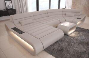 Leder Wohnlandschaft Sofa Couch Ottomane Concept U Form Led