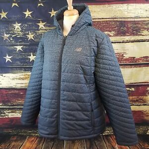 8fc66e47 Details about New Balance Women Gray Fleece Lined Puffer Quilted Hooded  Tech Jacket Size 1X