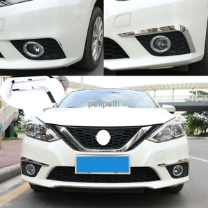 Mirror steel Front Fog Lights Lamp Eyebrow Cover Trim For Nissan SENTRA 2016-18