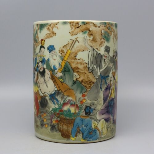 Chinese Old Marked Famille Rose Eight-Immortal Pattern Porcelain Brush Pot