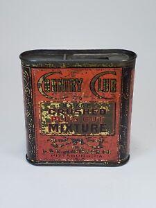Vintage-Country-Club-A-Rare-Crushed-Plug-Cut-Mixture-Tobacco-Tin