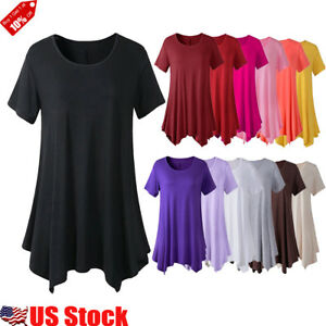 US-Womens-Summer-Short-Sleeve-Swing-Blouse-Casual-Loose-Swing-Tunic-T-shirt-Tops