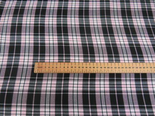 Baby Pink Black Tartan Poly Viscose Check Fashion Fabric Material Printed 150cm