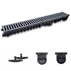 98mm A15 Entwässerungsrinne 6m Kunststoffrost Line grau Komplettsystem Tiefe