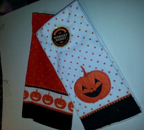 Midnight Market Halloween Pumpkin Decorative Kitchen Hand Towels 2 Pack