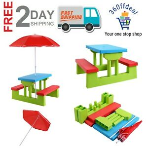 Wondrous Details About Kids Picnic Folding Table And Bench With Umbrella Portable Outdoor Garden Table Gmtry Best Dining Table And Chair Ideas Images Gmtryco