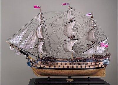 "HMS BELLONA 48"" wood model ship large scale sailing tall British boat"