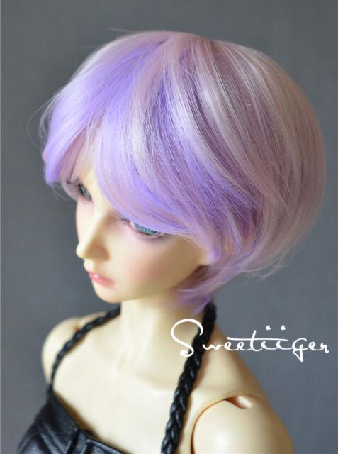 "8-9"" 1/3 BJD Hair IP SD DD doll wig Super Dollfie purple/pink boy fantasy short"