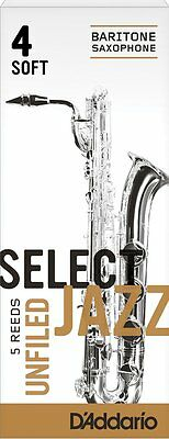 1 Box of 5 D'Addario/Rico Select Jazz Reeds Unfiled Baritone/Bari Sax. 4-Soft/4S