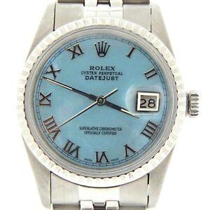 Nuovi Prodotti 5f9de ff34e Dettagli su Rolex Datejust Orologio in Acciaio Inox Quadrante Blu Mocio  ROMANI BRACCIALE JUBILEE 16030- mostra il titolo originale