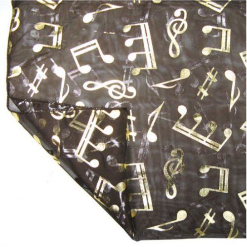 Gold Foil Musical Note Treble Clef Fashion Neck Scarf Head Wrap 100/% Polyester