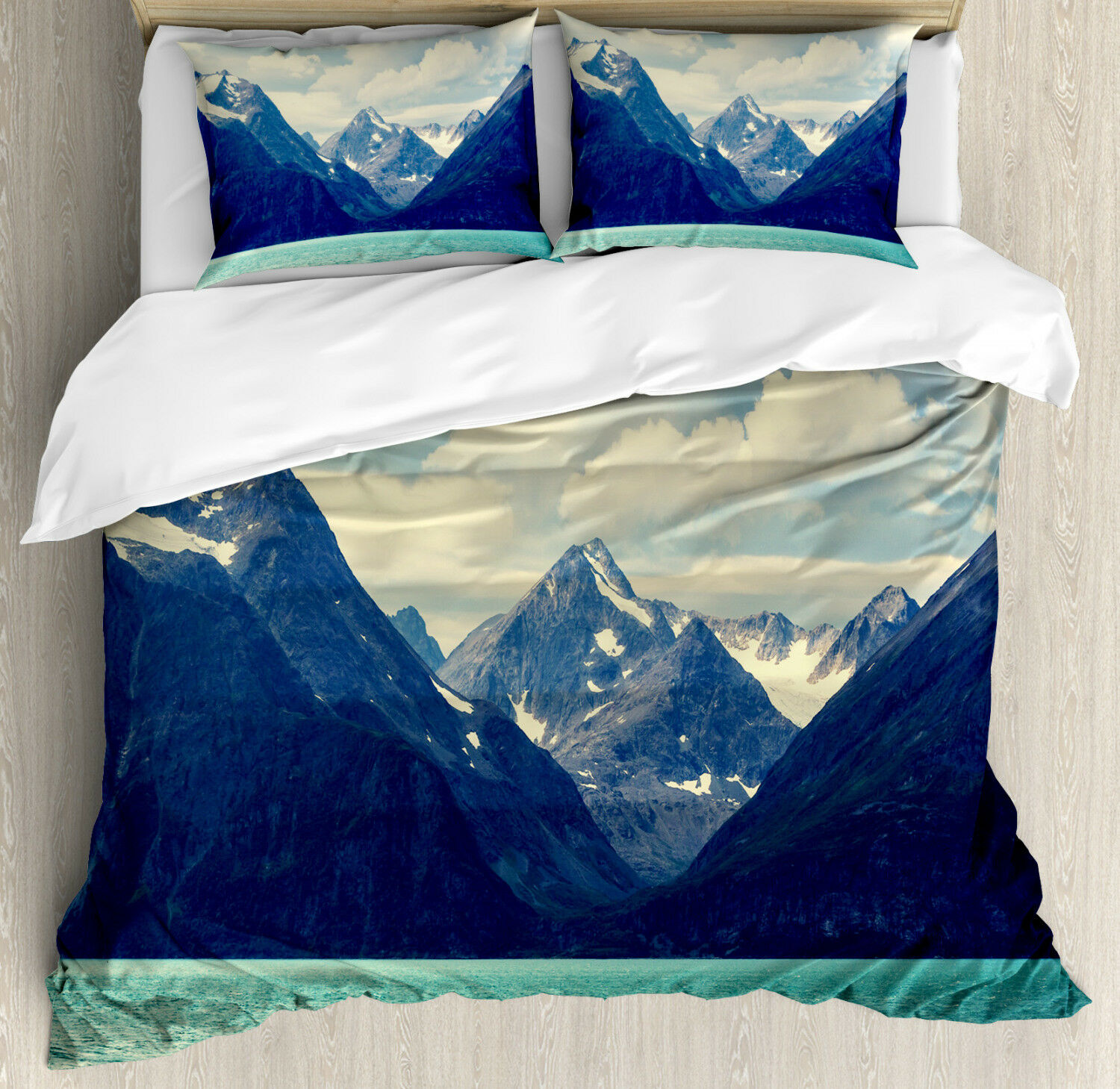 Mountain Duvet Cover Set with Pillow Shams Northern Norway Harbor Print
