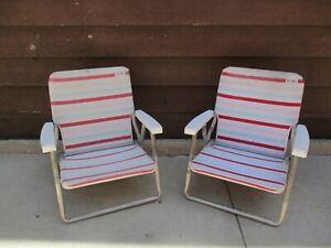 Cool Details About Set Of 2 Vintage Original Debro Aluminum Folding Beach Sand Chairs Low Profile Beatyapartments Chair Design Images Beatyapartmentscom