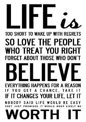 INSPIRATIONAL MOTIVATIONAL QUOTE POSTER PRINT LIFE IS TOO SHORT