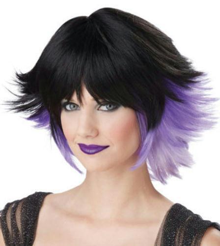 Purple Fantasia Black Lavender Gradient Pixie Costume Wig