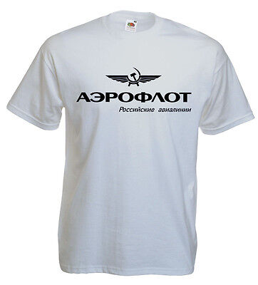 2019 Nuovo Stile T-shirt Aéroflot, Aviation Russe, Pilote, Aéronautique, Aviateur S,m, L, Xl Neuf E La Digestione Aiuta