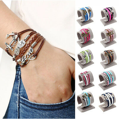 Women Men Multilayer Leather Handmade Cuff Wristband Anchor Infinity Bracelet