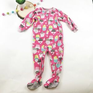 c0f2fcfde Carters Girls 24 Months Cupcake Pajamas Fleece Sleeper Zip Pink
