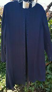 Kay-Unger-New-York-Navy-Dark-Blue-100-Silk-Bead-Trim-Long-Sleeve-Sz-16