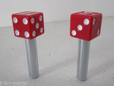 RED DICE DOOR LOCK KNOBS TIRE VALVE STEM CAP SET CHEVY FORD MOPAR  #70040//70005
