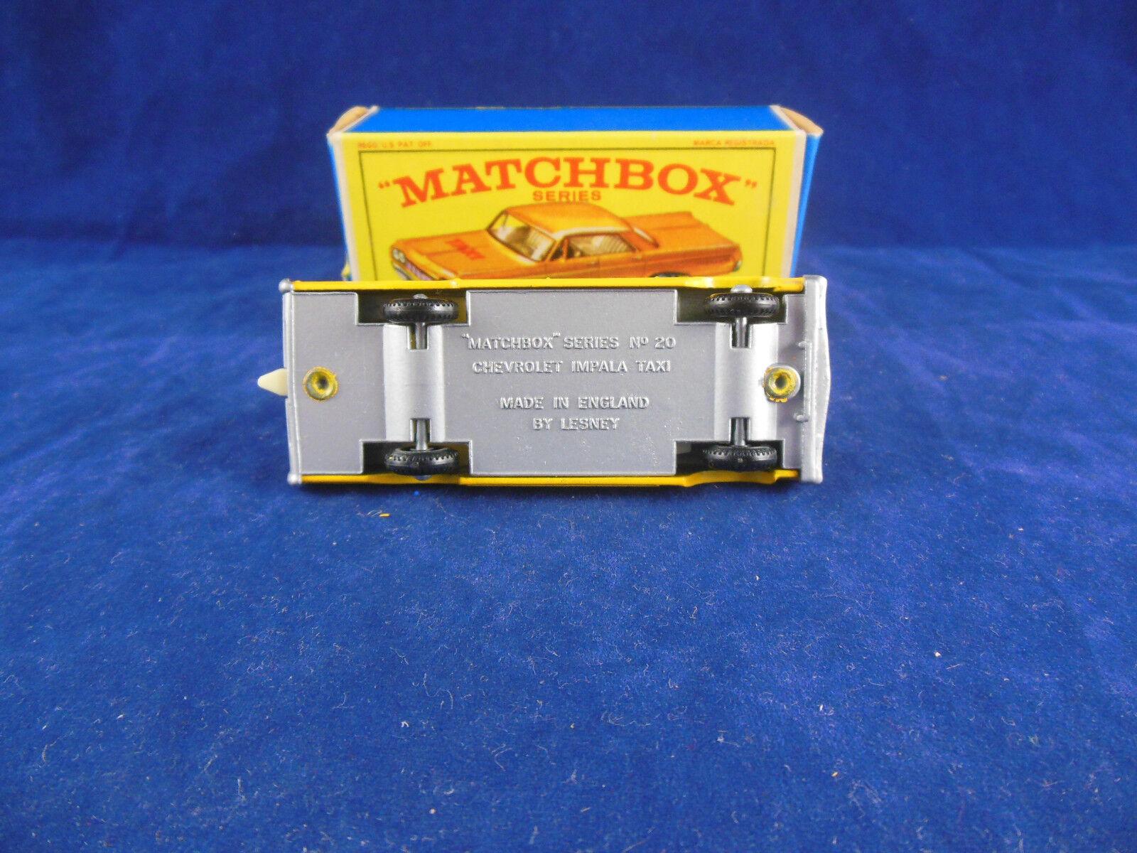 RARO MATCHBOX 20 C CHEVROLET IMPALA TAXI IN GIALLO GRIGIO argentoO DIPINTO base