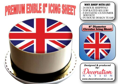 Union Jack Flag 8 INCH ICING Edible Cake Topper Birthday Celebration Party