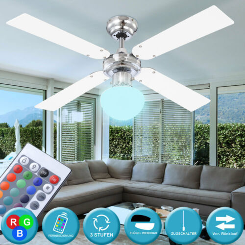 LED Decken Ventilator Ess Zimmer Lüfter RGB Fernbedienung Glas Lampe DIMMBAR