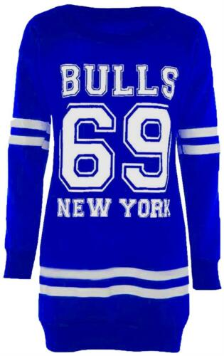 Womens Oversizes Long Sleeve Sweatshirt Jumpers Newyork Brooklyn Bulls Tops 8-22