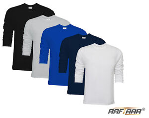 New-Mens-Plain-Premium-Soft-Feel-Long-Sleeve-T-Shirt-100-Combed-Cotton-Lot