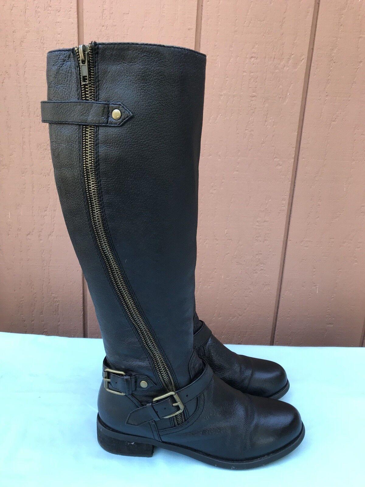 Excelente condición usada Steve Madden Synicle nos para Mujer Negro Cuero Moto botas 8.5 A9