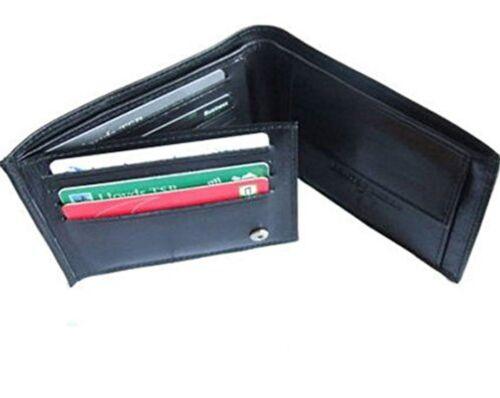 177 Forte Custodia TRIPLA Nero in Pelle Portafoglio Card /& Coin slot /& ID finestra