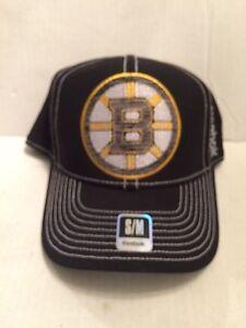 b13ba6c5580 Image is loading Boston-Bruins-Reebok-Stretch-fit-hat-S-M-Black
