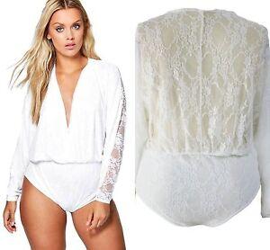 6494839f75 Ladies White Wrap Front Lace Bodysuit Lace Top Bodice Leotard Plus ...