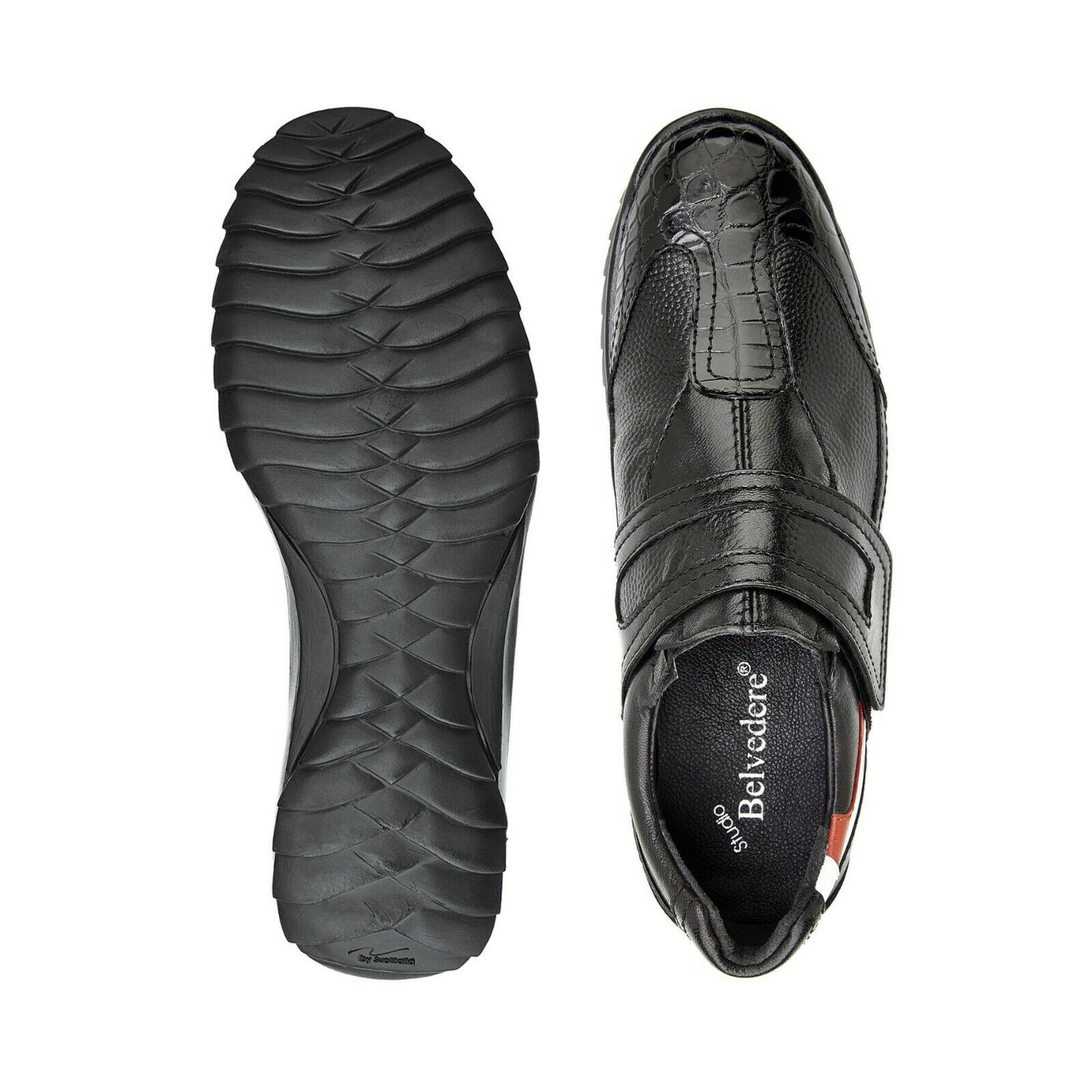 Belvedere Mikele Basketball shoes Genuine Crocodile and Soft Calf Black 37608